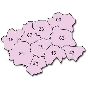 départements  03 - 15 - 16 - 19 - 23 - 24 - 43 - 46 - 63 - 87