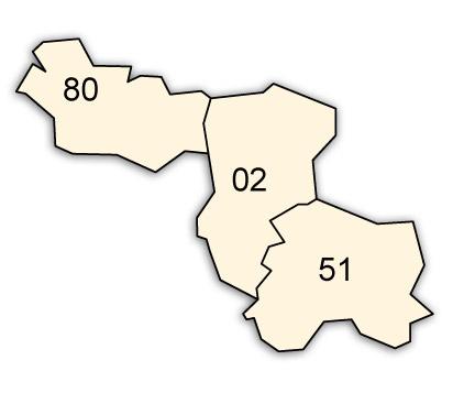 départements 02 - 51 - 80