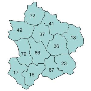 départements 36 - 37 - 41 - 49 - 72 - 86